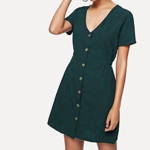 SHEIN Dark Green Single Breasted Solid Dress